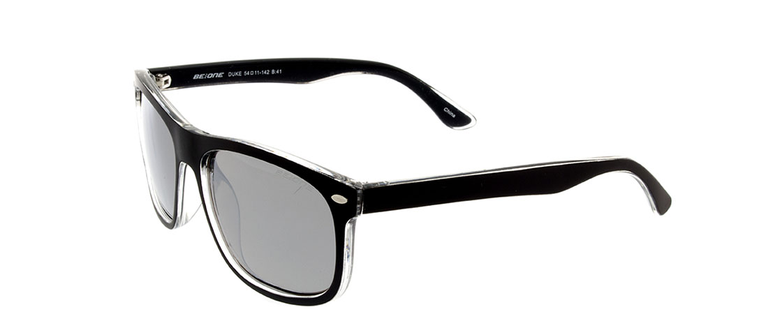 Matt Black Face w/Clear Frame, Silver Mirror Lens