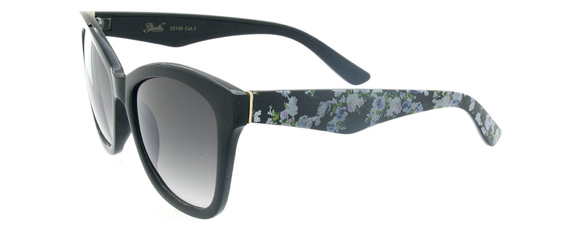Black w/Floral Print Arms, Gray Gradient Lens