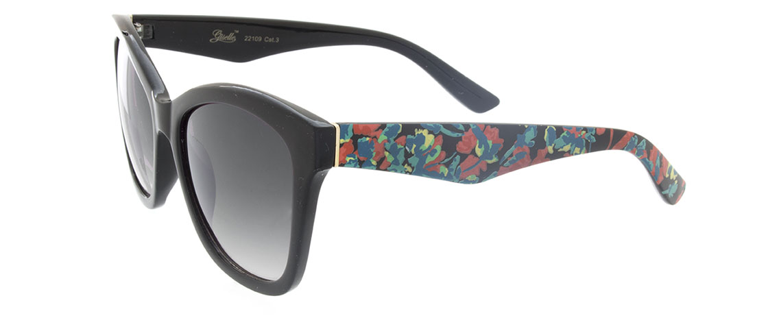 Black w/Floral Print Arms Red, Gray Gradient Lens