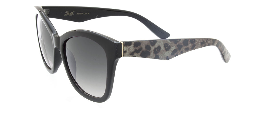 Black w/Animal Print Arms, Gray Gradient Lens