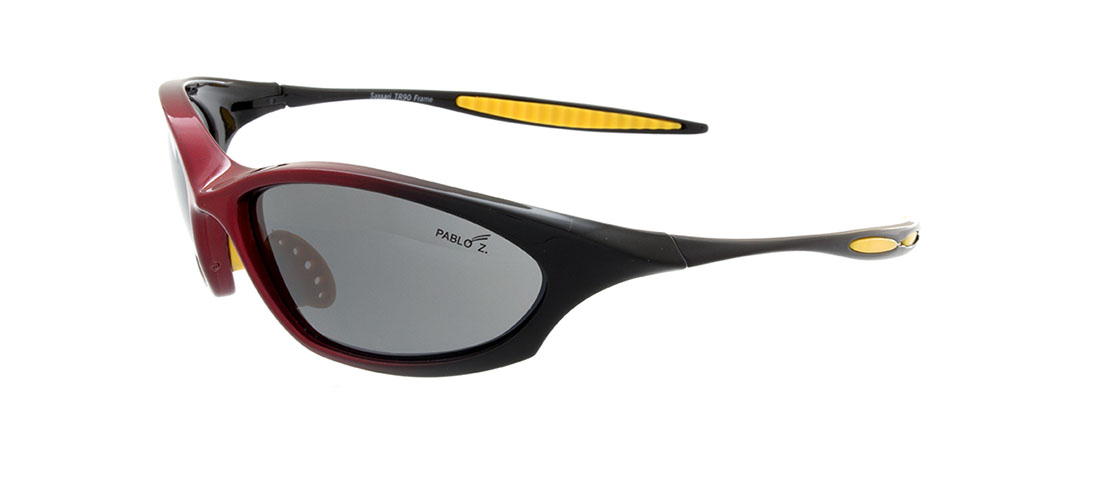 Burgandy w/Yellow accent Frames, Gray Lens