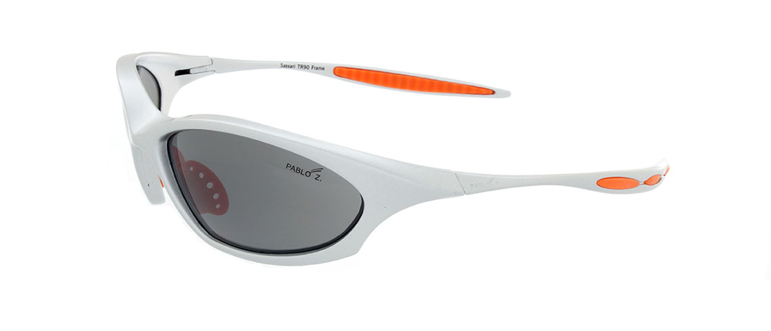 Silver w/Orange accent Frames, Gray Lens