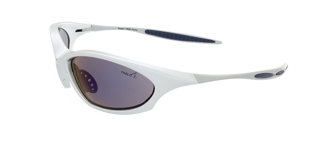 Silver w/Blue accent Frames, Gray Lens