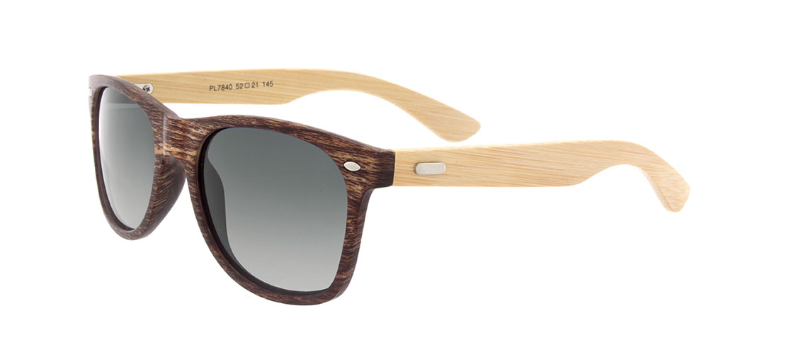Faux Wood w/ Bamboo Arms, Gray Lens